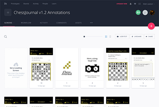 ChessJournal prototype in inVision